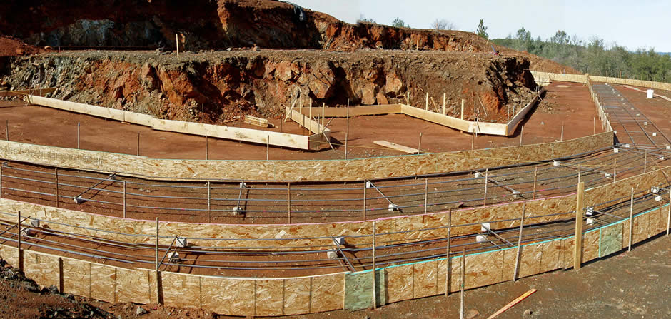 Jan 22, 2009<br/><br/>The forming begins!<br/><br/>  The forming of the cistern footings, located on the lowest level, begins with the placement of the flexible forms, which will conform to the curved shape of the cistern and pool.